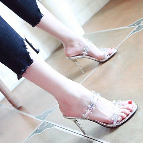 Lady Toe Verano Estilo Nuevo Sandalias Europeo Zapatillas Zapatos Piel YMFIE tacón Toe Sexy Laca a de SvBPxq