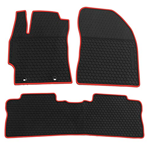 biosp Car Floor Mats for Toyota Corolla 2014 2015 2016 2017 2018 Front and Rear Seat Heavy Duty Rubber Liner Black Red Vehicle Carpet Custom Fit-All Weather Guard Odorless
