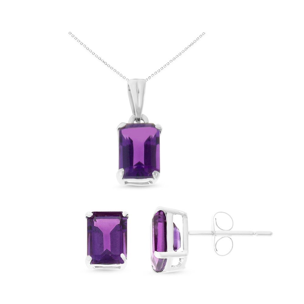 14K White Gold 5 x 7 mm. Emerald Cut Genuine Amethyst Earrings + Pendant Set With Square Rolo Chain
