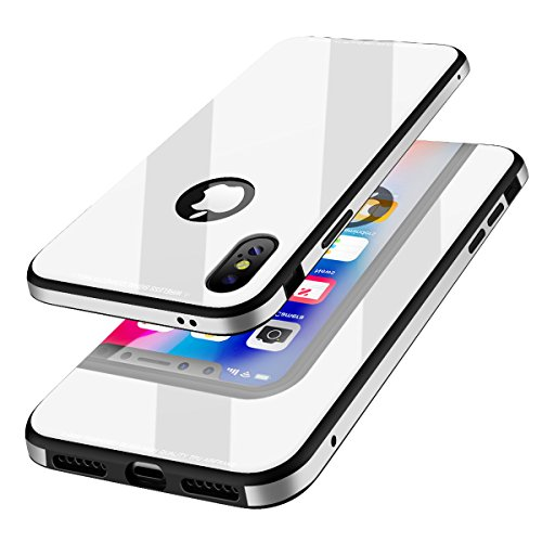 KADES Protective iPhone X Case with Anti-Scratch Tempered Glass Back Cover and Reinforced Bumper for Apple iPhone X / iPhone 10 – White