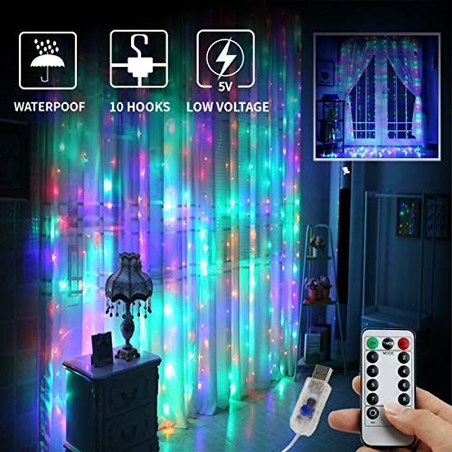 Juhefa Window Curtain Lights 300 LED,USB Powered Fairy String Lights with Remote, IP64 Waterproof & 8 Settings Twinkle Lights for Christmas Parties,Weddings,Wall Decorations (9.8x9.8Ft Multi-Color)