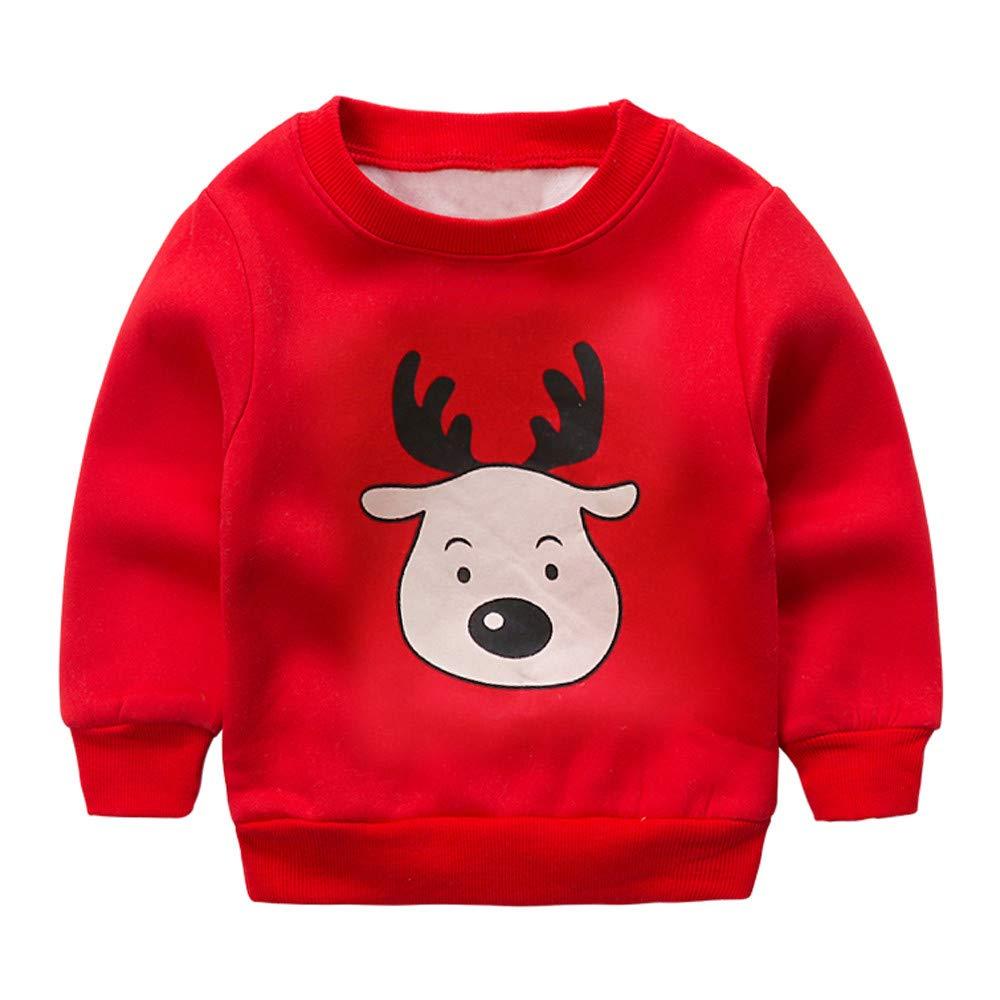 Jarsh Toddler Girls Boys Long Sleeve Christmas Deer Tops Sweatshirt Warm Clothes