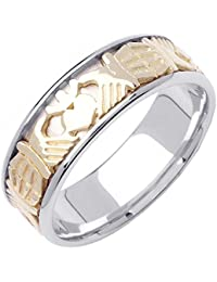 14K Two Tone (White and Yellow) Gold Celtic Claddagh Men's Comfort Fit Wedding Band (7mm)