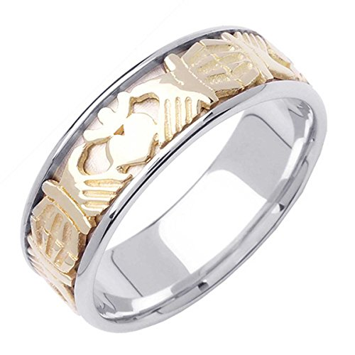 - 14K Two Tone (White and Yellow) Gold Celtic Claddagh Men's Comfort Fit Wedding Band (7mm) Size-16.5c1