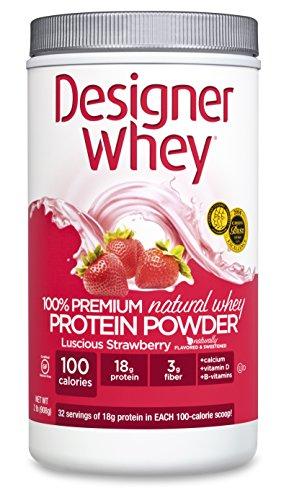 DESIGNER WHEY 100% Premium Whey Protein Powder, Luscious Fraise, 32 once Container