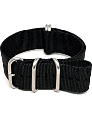 DaLuca Ballistic Nylon Military Watch Strap - Black (Matte Buckle) : 24mm