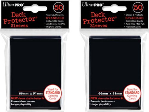 (100x) Ultra PRO Black Deck Protectors Sleeves Standard MTG Colors