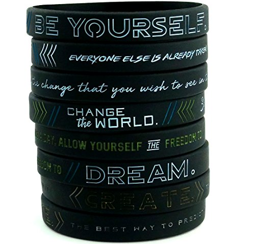 "(12-pack) ""Be Yourself, Change the World, Create, & Dream"" - Inspirational Silicone Wristbands Wholesale Bulk Lot Bundle - Unisex Size for Teens Men Women Adults"