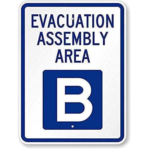 LilithCroft99 Evacuation Assembly Area B Metal Signs Funny Warning Signs Aluminum 8x12