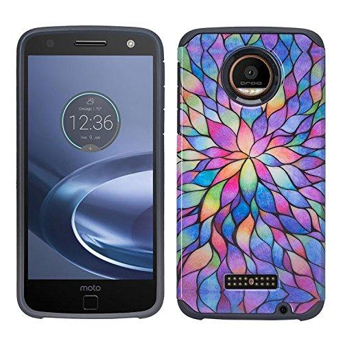 Motorola Moto Z Play Droid Case 2016 (Verizon Wireless) Dual Layer Protection Design SPG Hybrid Slim Case Cover XYZ (Rainbow Mini Pedals Hybrid)