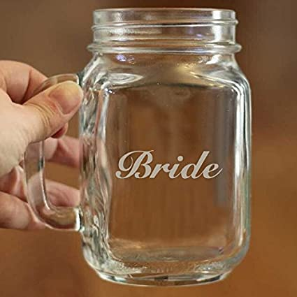 Amazon Bride Mason Jar Engraved Mug Gifts 16 Oz Wedding Gift