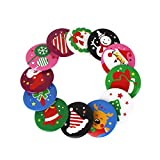 CactusAngui 10Pcs Christmas ID Badge Party Santa Claus Snowman Xmas Tree Tinplate Brooch Pin Random Color&Pattern