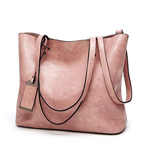 para Estudiante A4 de de Gran Cubierta Bolsos de Mujer tamaño Pink 2way Viajero JANEFUJ Capacidad de Hombro PU Cuero Ajustable 17StTwTWq5