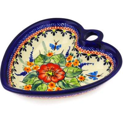 - Polish Pottery Heart Shaped Bowl 6-inch Spring Splendor UNIKAT