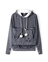 Ladyjiao Womens Mewgaroo Pet Holder Cat Eared kangaroo Pouch Sweatshirt Hoodie