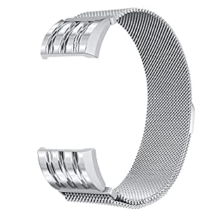 For Fitbit Charge 2 Bands, bayite Stainless Steel Milanese Loop Metal Replacement Accessories Bracelet Strap with Unique Magnet Lock, Silver with Rhombus Pattern Small
