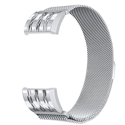 For Fitbit Charge 2 Bands, bayite Stainless Steel Milanese Loop Metal Replacement Accessories Bracelet Strap with Unique Magnet Lock, Silver with Rhombus Pattern Large (Patterns Free 2)
