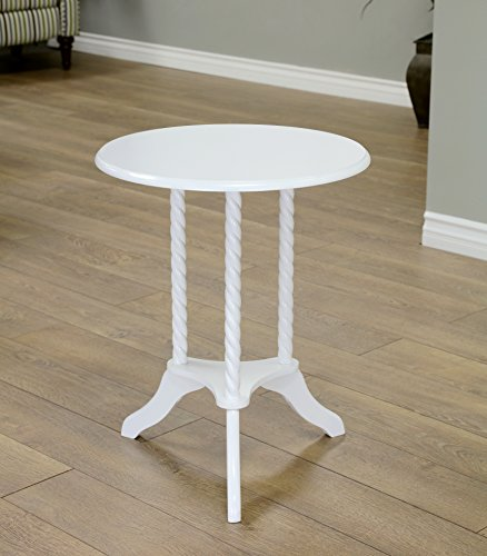Frenchi Home Furnishing Round End Table, White (Plant White Stand)