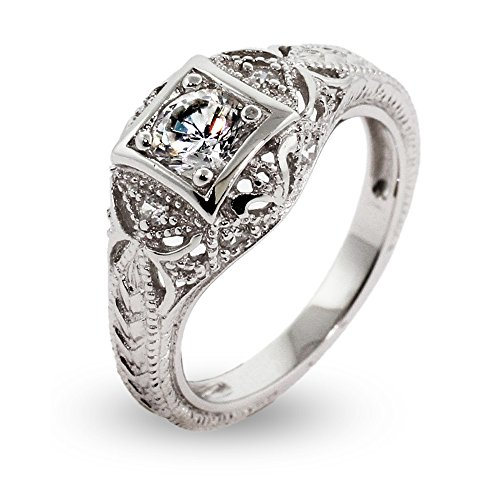 Women's Sterling Silver CZ Vintage Deco Style Engagement Ring, Sizes 5 to 9 ()