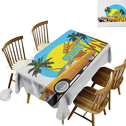DONEECKL Retro Oil-Proof Tablecloth Seamless Design Vintage Car in Magic City Miami with Exotic Coconut Trees Sunny Day Beach Yellow Blue Orange W52 xL70]()