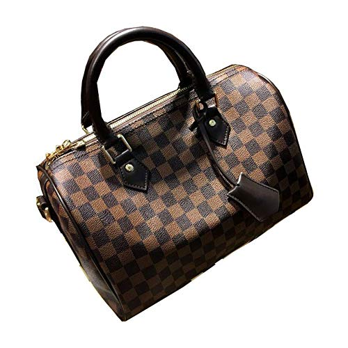 Womens Canvas Speedy Tote Bag Travel Bag Cross Body Bag (35cm, brown ()
