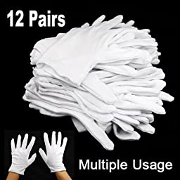 Topro Cotton General Purpose White Gloves Pack of 12 Pairs
