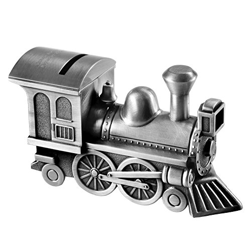 (Train Locomotive Custom Engraved Piggy Bank - Brushed Nickel Personalized)