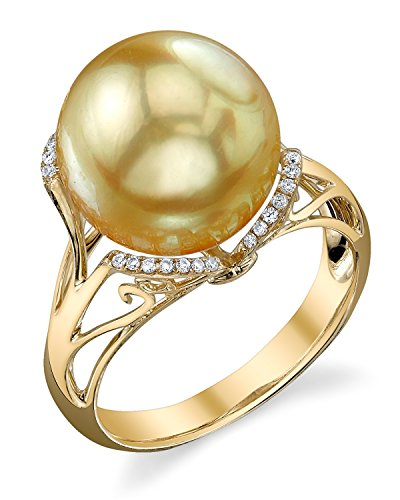 Sea 11mm Golden Pearl South (11mm Golden South Sea Cultured Pearl & Diamond Joana Ring in 14K Gold)