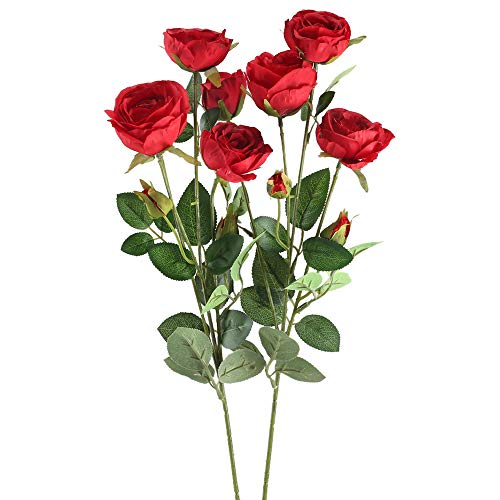 GTIDEA 25 Inch Artificial Fake Rose Flowers Silk Bloom Branch Galvanized Milk Jug Filler Bride Wedding Bouquet Home Office Farmhouse Spring Decor Pack of 2 (Red) (Striking Spring Bouquet)