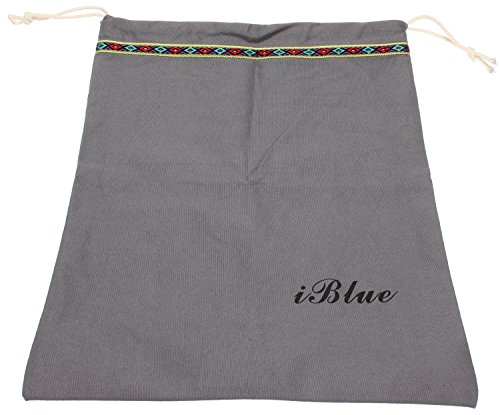 Iblue Cotton Travel Shoe Bag Drawstring Storage Organizer Pouch #i525 (grey)