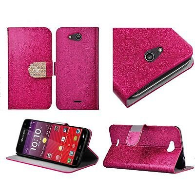 For Kyocera Hydro Wave Air C6740 PU Leather Bling Flip Wallet Credit Card - Pink -  EpicDealz