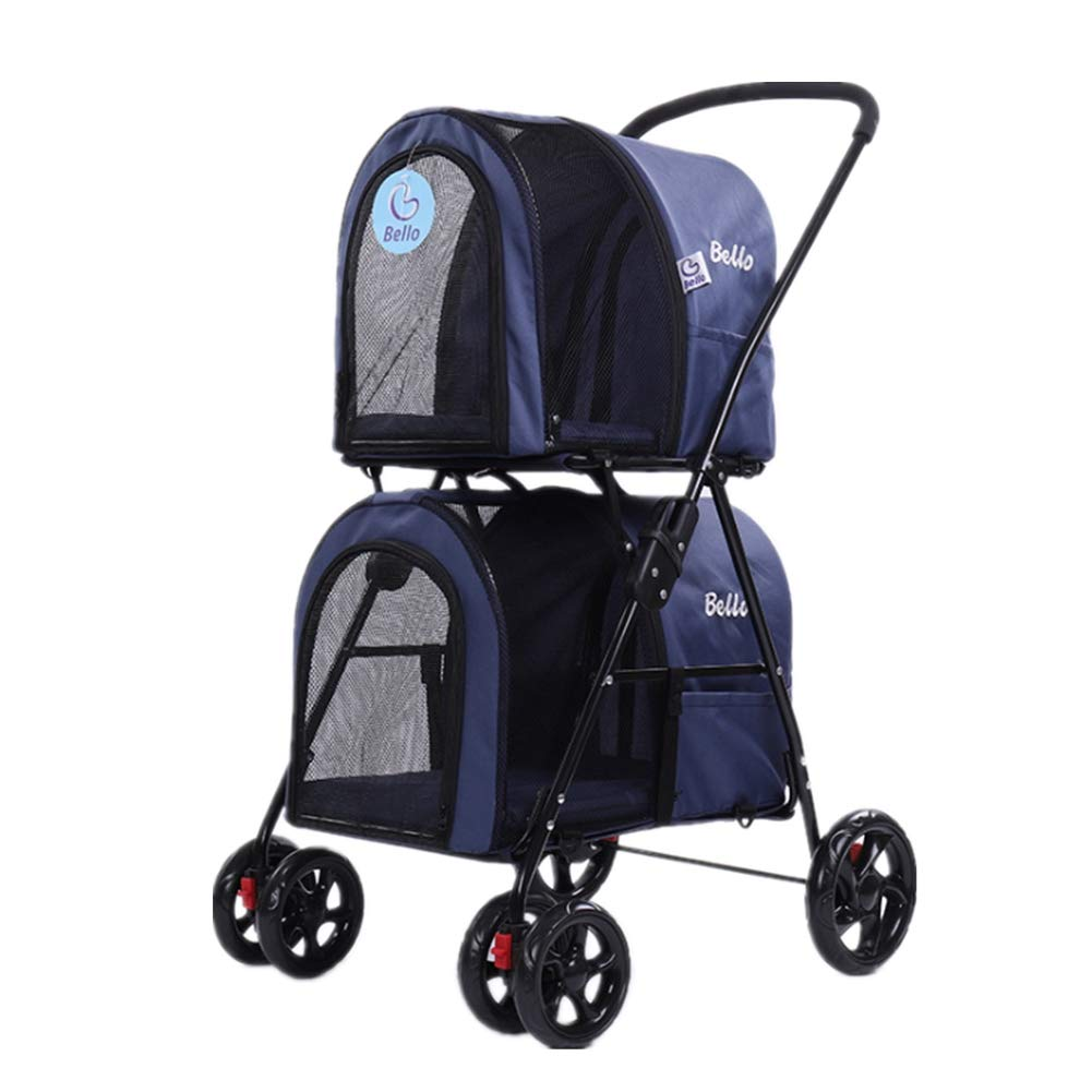 bluee Pet Stroller Separate Foldable Space on the Upper and Lower Sides Breathable Pushchair Built-in Soft Mat Upper 8 kg Lower layer 10 kg