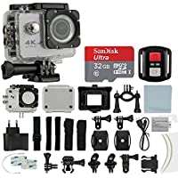 4K HD DV 16MP Sports Action Camera, (Silver) - Wi-Fi + Wrist RF + 170° Wide Angle Lens + Waterproof Case & Backdoor + SanDisk 32GB Memory Card + Bike Mount + Clip Holder + Ultimate Accessory Bundle