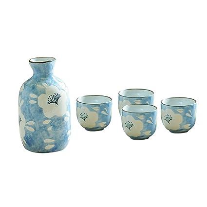 VORCOOL Juego de Sake de cerámica Hecho a Mano de Estilo japonés Pintado con Flor Blanca