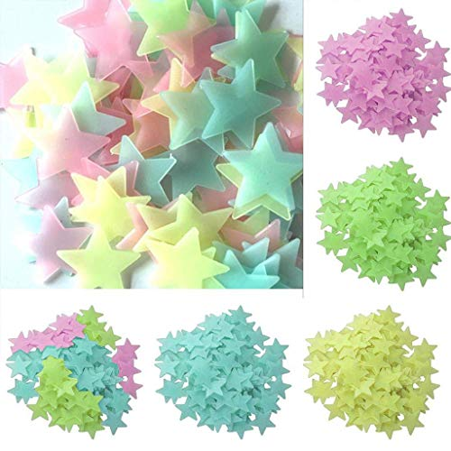 - Cute Wall Sticker Glow Star, 3cm Kids Bedroom Fluorescent Glow In The Dark Stars Wall Stickers Home Decor (200PC Four-color mixing)