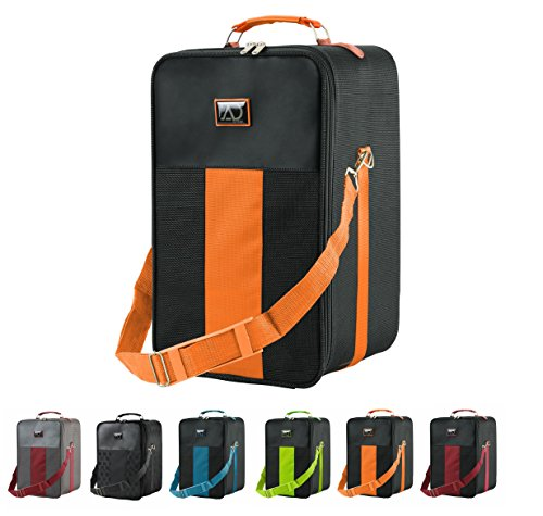 Small Wig Travel Box with Top Handle, Shoulder Strap & Double Zipper, Carrying Case with Removable Head-Holding Base - Black & Orange - by Adolfo Design