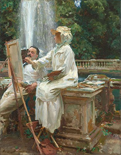 The Museum Outlet - Sargent - The Fountain in Villa Torlonia Italy, Stretched Canvas Gallery Wrapped. 11.7x16.5