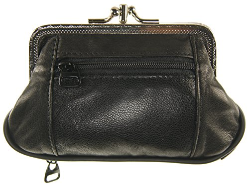Womens Leather Metal Frame Double Kiss Lock Coin or Change Purse (Black) -