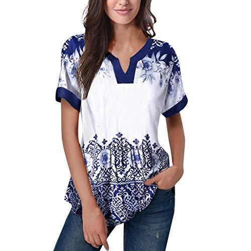 Raglan Wrap - Women's Summer V Neck Raglan Short Sleeve Tee Shirts Simayixx Casual Blouses Printed Tshirts Summer Tops Blue