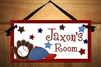 Amazon.com: Personalized Kids Door Sign for Boys Baseball Sports ...