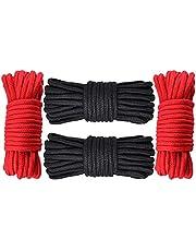 GiantGo 4 rollen van 5 meter zacht katoenen touw - zacht gedraaid katoenen knooppunt bindtouw - multifunctioneel dik katoen gedraaid koord - 8 mm diameter touw sterk gevlochten touw, zwart en rood