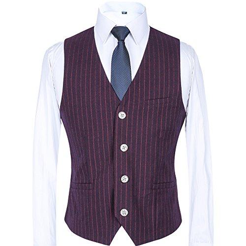 CCXO Mens Single Breasted 4 Buttons Sleeveless Formal Business Wedding Waistcoat Vest (Purple Stripe, XXXXL)
