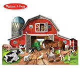 Melissa & Doug Busy Barnyard-Shaped Floor Puzzle (Beautiful Original Artwork, Sturdy Cardboard Pieces, 32 Pieces, 2' x 3')