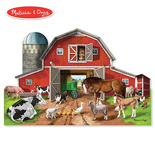 (Melissa & Doug Busy Barnyard-Shaped Floor Puzzle (Beautiful Original Artwork, Sturdy Cardboard Pieces, 32 Pieces, 2' x)
