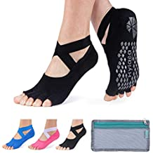 Hylaea Yoga Socks for Women with Grip & Non Slip Toeless Half Toe Socks for Ballet