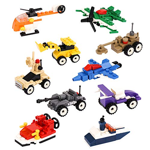 Jellydog Toy Mini Building Blocks Vehicles,10 in 1 Military Building Vehicles, Stem Building Toy, Kids Party Favors, Set of 10