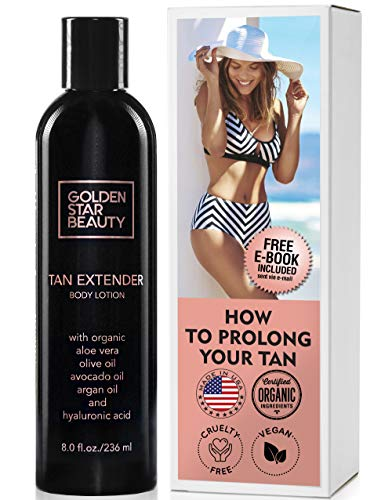- Tan Extender Daily Moisturizer - Best After Tanning Lotion w/Organic Oils and Hyaluronic Acid to Extend Your Tan from Sunless Tanner, Spray Tan, Sun or Tanning Bed 8.0 fl.oz.- Free eBook included