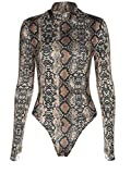 Sorrica Womens Sexy Long Sleeve Snake Skin Print Bodysuit Jumpsuit Mock Neck Stretchy Leotard Tops Clubwear (US.8-10, Snake Print 1)