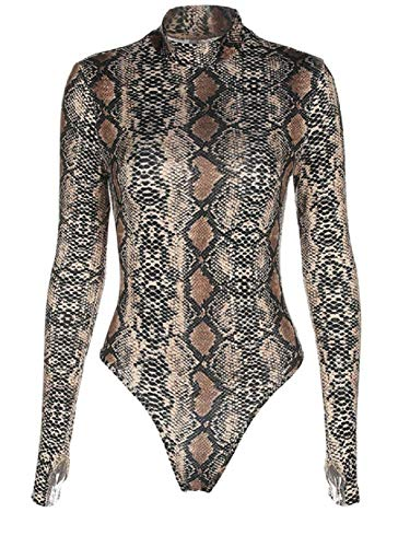 Sorrica Womens Sexy Long Sleeve Snake Skin Print Bodysuit Jumpsuit Mock Neck Stretchy Leotard Tops Clubwear (US.8-10, Snake Print -