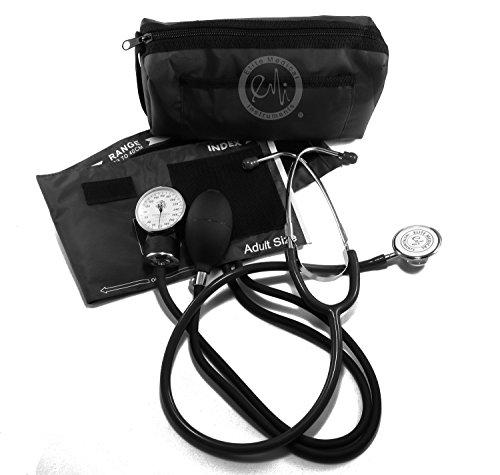 EMI # 305 BLACK Aneroid Sphygmomanometer Blood Pressure Monitor and Dual Head Stethoscope Kit Set Dual Head Kit
